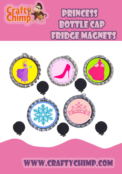 Princess Bottle Cap Fridge magnets