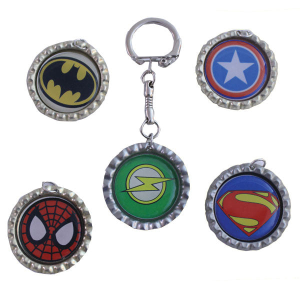 Super Hero Bottle Cap Key Chains