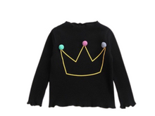 Load image into Gallery viewer, Pom-pom crown embroidery ribbed long sleeves t-shirt - ELAN KIDS BOUTIQUE