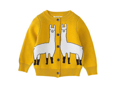 Yellow Llama cardigan unisex knitwear - ELAN KIDS BOUTIQUE