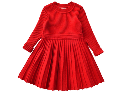 Red pleated cable knit dress - ELAN KIDS BOUTIQUE