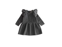 Charger l'image dans la galerie, Grey ruffled sleeves knit dress. - ELAN KIDS BOUTIQUE