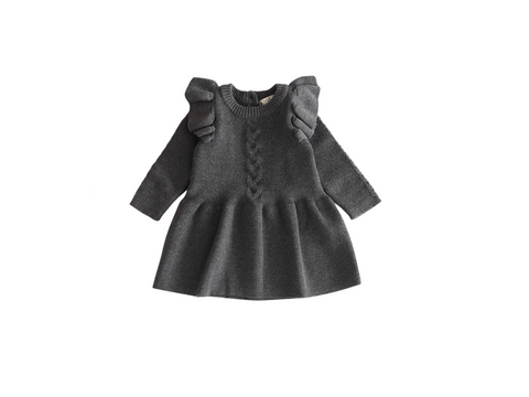 Grey ruffled sleeves knit dress. - ELAN KIDS BOUTIQUE
