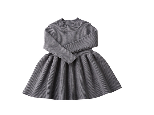 Grey long sleeve knit dress - ELAN KIDS BOUTIQUE