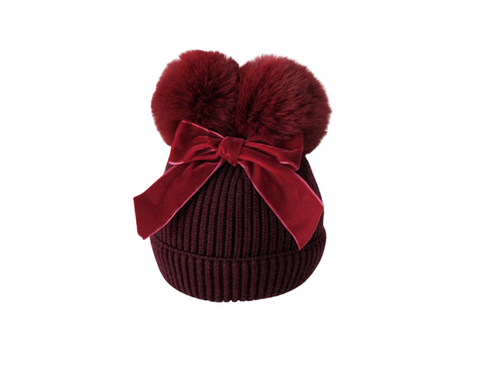 Burgundy velvet bow girls beanie - ELAN KIDS BOUTIQUE