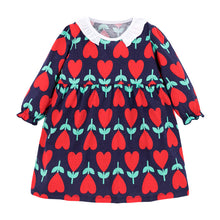 Load image into Gallery viewer, Girls floral heart print long sleeved smock dress - ÉLAN KIDS BOUTIQUE