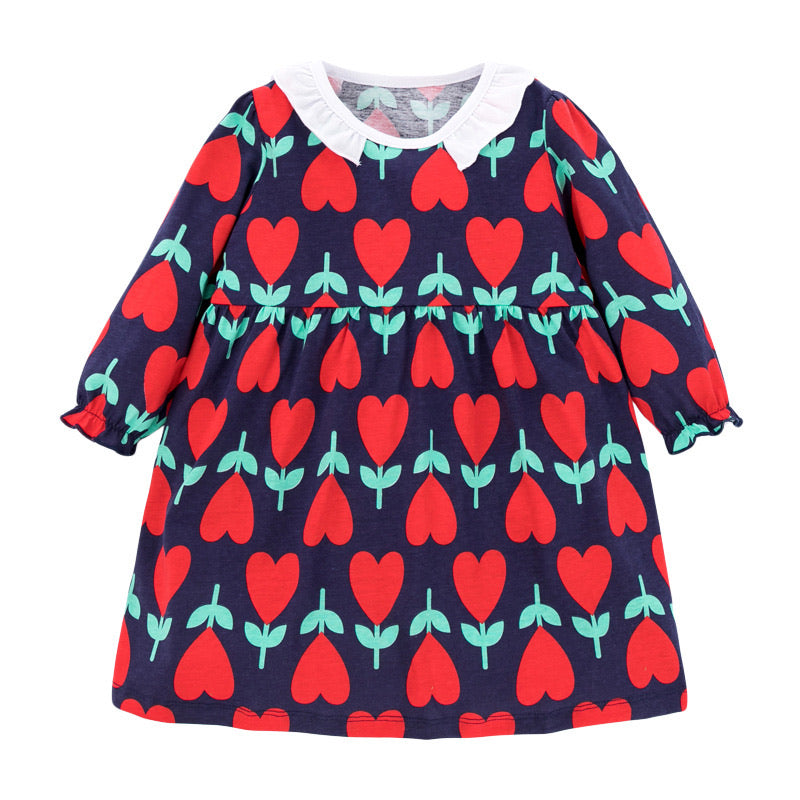 Girls floral heart print long sleeved smock dress - ÉLAN KIDS BOUTIQUE