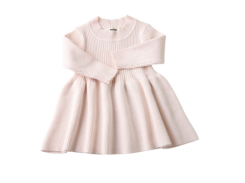 Cream long sleeve knit dress - ELAN KIDS BOUTIQUE