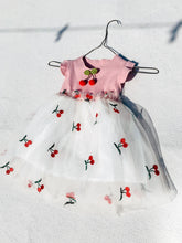 Load image into Gallery viewer, Baby Girl Pink Cherry Ribbed Short Sleeve Tulle Dress - ELAN KIDS BOUTIQUE
