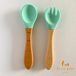 Infants -toddlers wood & silicone spoon and fork - Mint set - ELAN KIDS BOUTIQUE