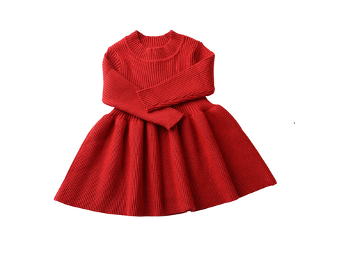 Red long sleeve pleated knit dress - ELAN KIDS BOUTIQUE