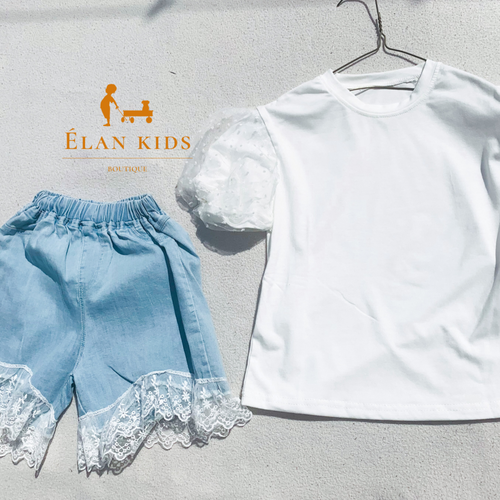 Lace Bell Sleeve T-shirt & Denim shorts - ELAN KIDS BOUTIQUE