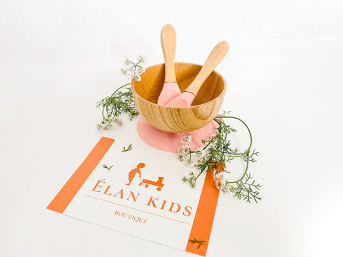Infant & toddlers suction bamboo mini bowl - Pink - ELAN KIDS BOUTIQUE