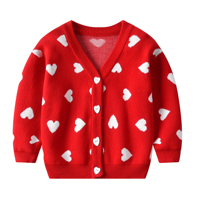 Red love heart button down cardigan - ÉLAN KIDS BOUTIQUE