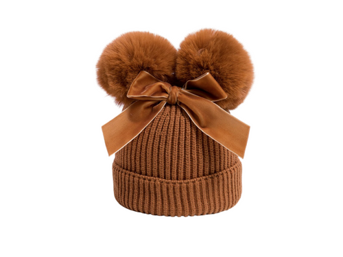 Tan velvet bow girls beanie - ELAN KIDS BOUTIQUE