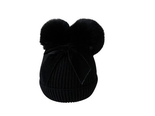 Black velvet bow girls hat - ELAN KIDS BOUTIQUE