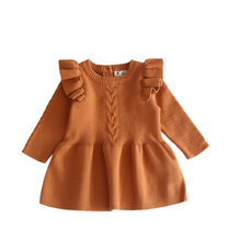 Load image into Gallery viewer, Brown ruffled sleeves knit dress. - ÉLAN KIDS BOUTIQUE