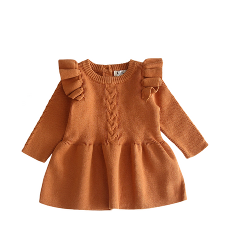 Brown ruffled sleeves knit dress. - ELAN KIDS BOUTIQUE