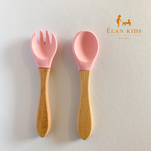 Infants -toddlers wood & silicone spoon and fork - Pink set - ELAN KIDS BOUTIQUE