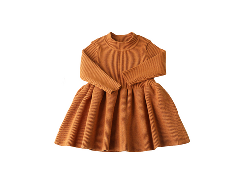 Tan long sleeve knit dress - ELAN KIDS BOUTIQUE