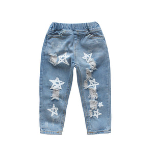 Girls star print distressed jeans - ÉLAN KIDS BOUTIQUE
