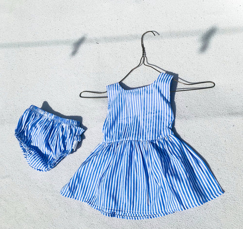Baby Girl Blue Stripped Poplin Sleeveless Bow Dress & Lace Ruffled Pants - ELAN KIDS BOUTIQUE