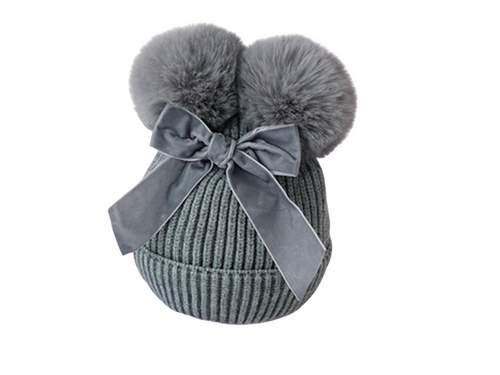 Grey velvet bow girls beanie - ELAN KIDS BOUTIQUE