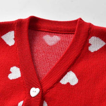 Load image into Gallery viewer, Red love heart button down cardigan - ÉLAN KIDS BOUTIQUE