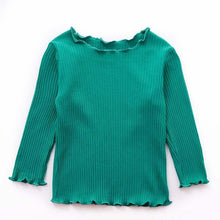 Load image into Gallery viewer, Girls frilled neck ribbed long top - ELAN KIDS BOUTIQUE