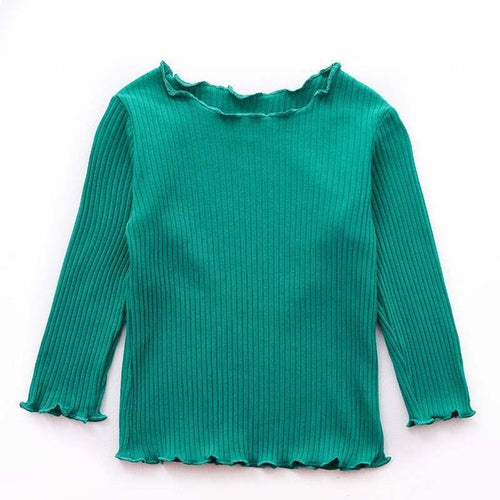Girls frilled neck ribbed long top - ELAN KIDS BOUTIQUE
