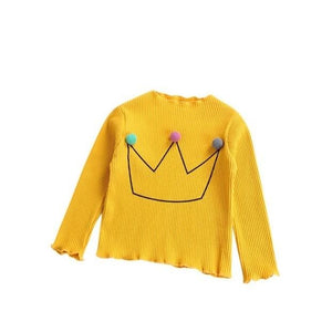 Pom-pom crown embroidery ribbed long sleeves t-shirt - ELAN KIDS BOUTIQUE