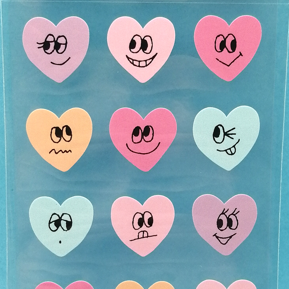 Cute Faces Heart Shaped Stickers - Sock. Paper. Scissors.