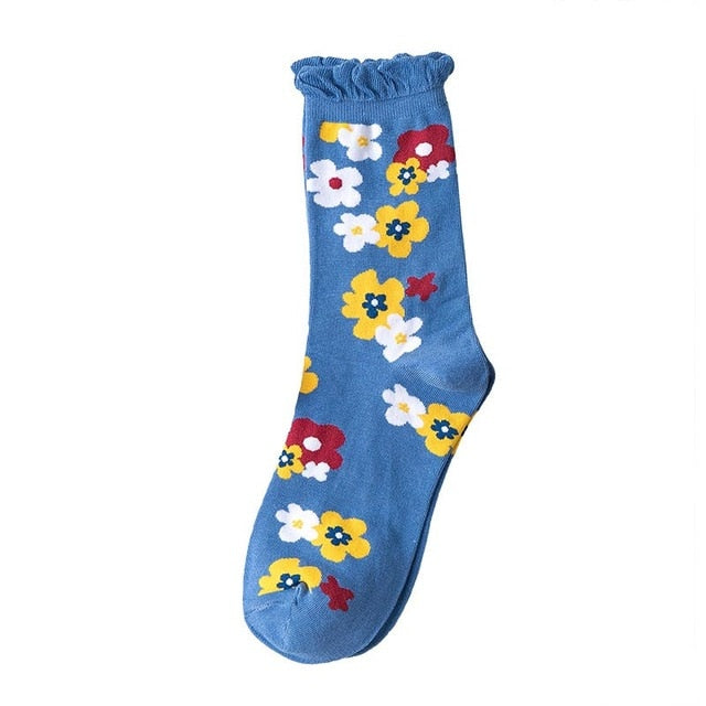 Flower Bunch Blue Ankle Socks - Sock. Paper. Scissors.