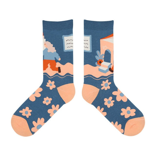 Illustrated Life Blue Ankle Socks - Sock. Paper. Scissors.