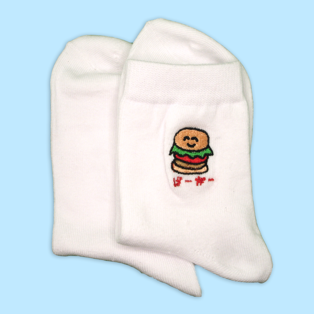 Burger Katakana Ankle Socks (White) - Sock. Paper. Scissors.