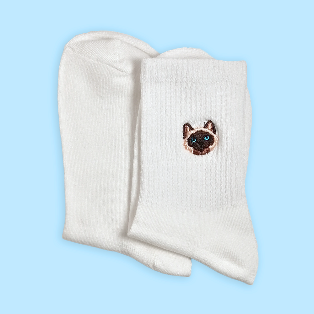 Embroidered Cats Ankle Socks - Sock. Paper. Scissors.