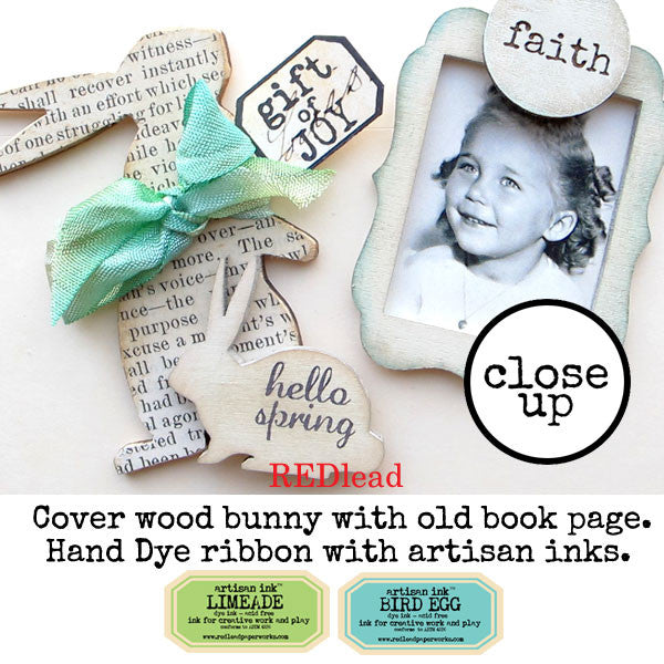 Vintage Book Pages + Wood Bunnies = Easter Embellishments