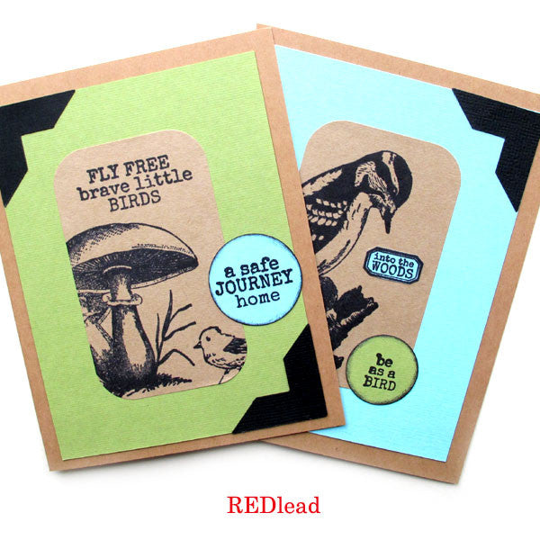 Rubber Stamps + Stickers = Nature Cards