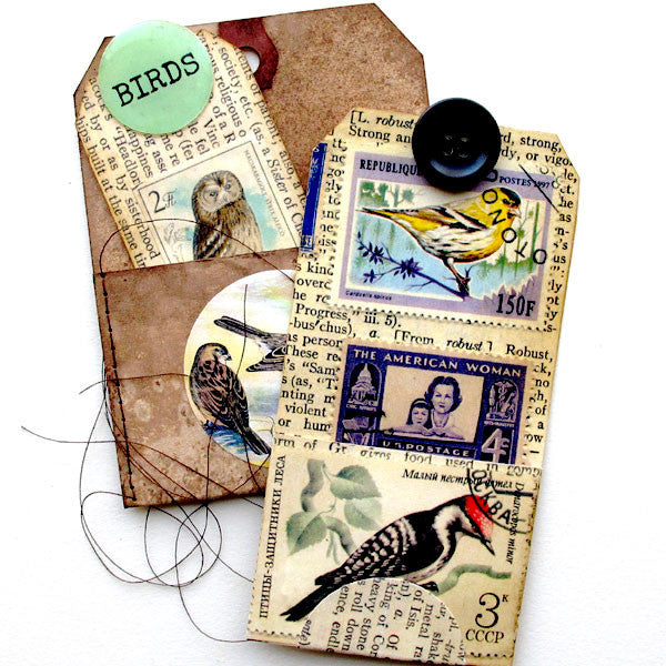 Stitched Birds Pocket Tag