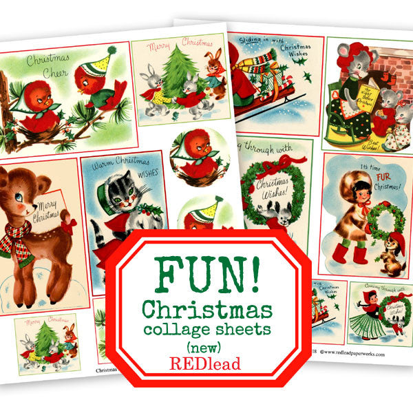 Cute Christmas Birds and Deer Christmas Collage Sheets