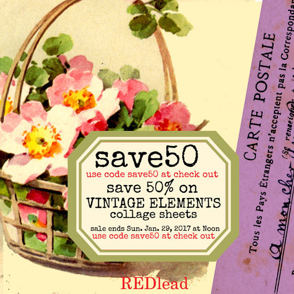 Vintage Elements Collage Sheets -  Save 50%!