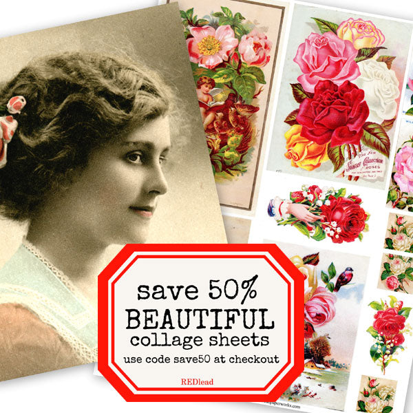 beautiful vintage collage sheets