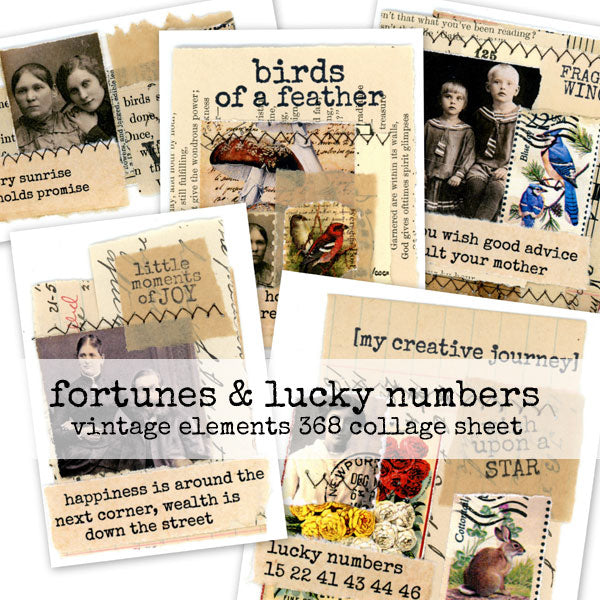 fortunes and lucky numbers collage sheet