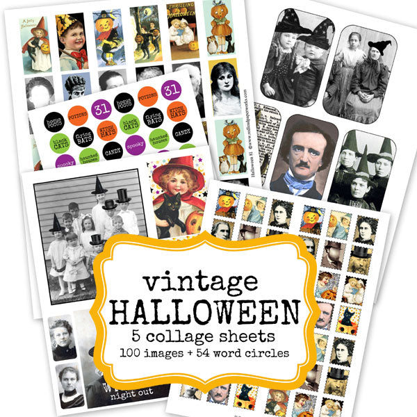 Vintage Halloween Collage Sheets