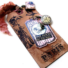 mixed media Paris rubber stamped tag