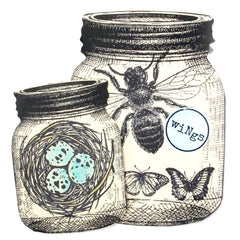 Rubber Stamp Large Butterfly and Bee