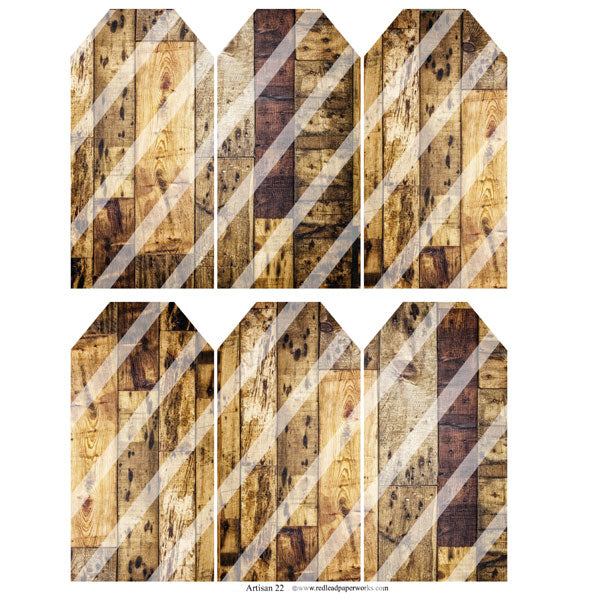 Artisan 22 Wood Grain Tags Collage Sheet