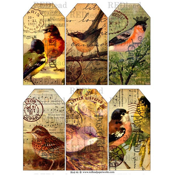 Bird 46 Tag Collage Sheet