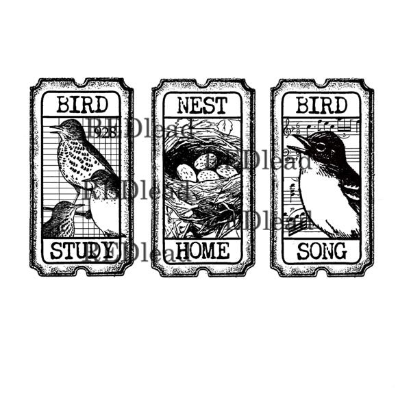 Bird Tickets Bird Rubber Stamp