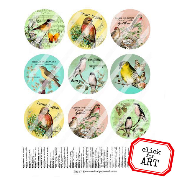 Bird 67 Collage Sheet Artist Trading Coins